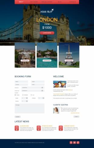 旅游度假类英文网站模板制作电脑图片