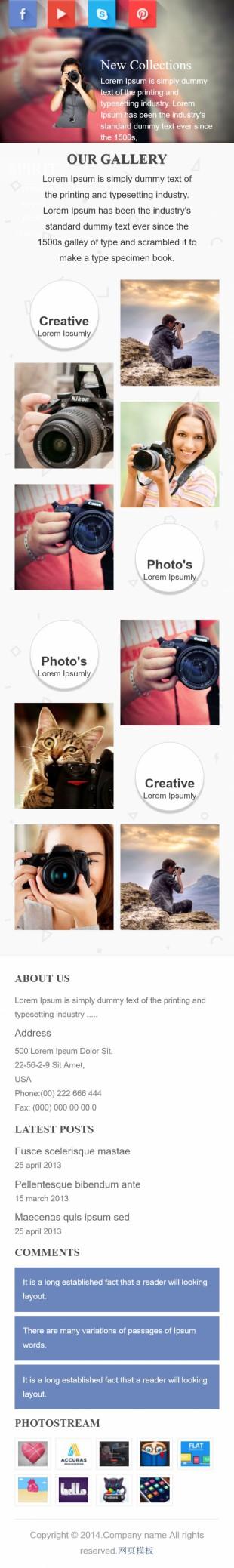 摄影类英文网站制作模板手机图片