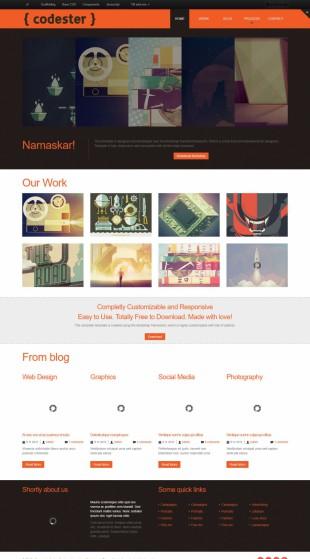 作品展示类英文网站模板制作电脑图片