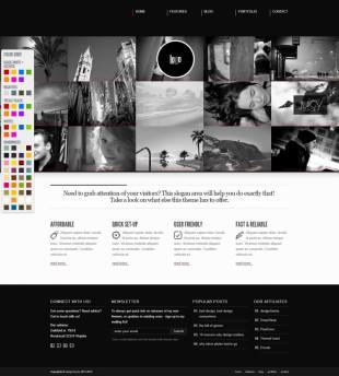 可换色的大图英文网站模板制作电脑图片