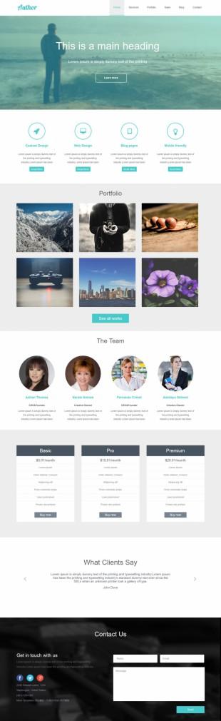 绿色响应式平面设计html5模板英文网站模板制作电脑图片