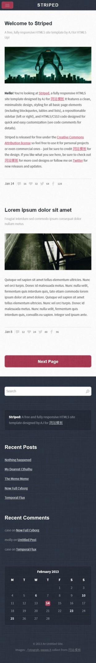 暗蓝色亚麻质感UI博客模板网站制作手机图片