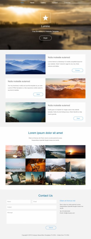 扁平化大气个人摄影博客模板网站制作电脑图片