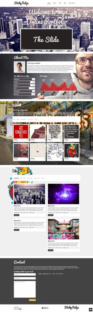 大气个性设计师作品展示单页模板网站建设电脑图片