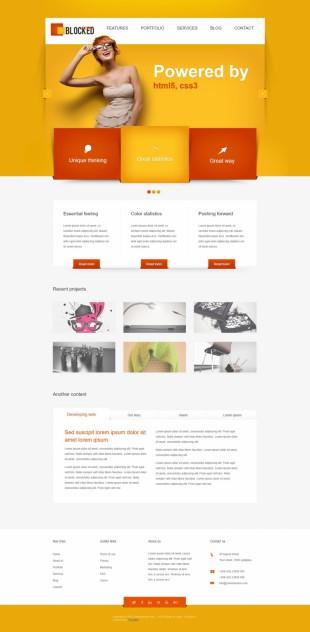 大气黄色背景摄影设计行业模板网站建设电脑图片