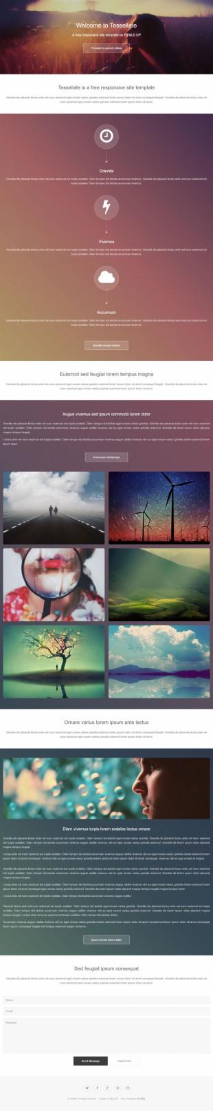 大图背景扁平化潮流设计风格html5英文网站模板电脑图片