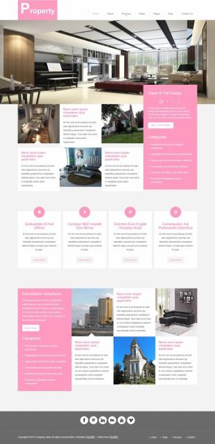 粉色扁平化大气别墅装修设计公司英文网站制作模板电脑图片