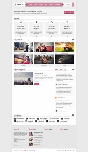 粉色大图幻灯背景精美商业企业英文网站制作模板电脑图片