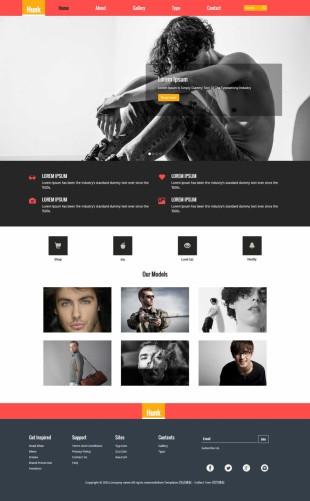 粉色简洁服装模特写真公司网站英文网站制作模板电脑图片