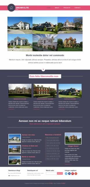 粉色物业房地产企业网站整站英文网站制作模板电脑图片