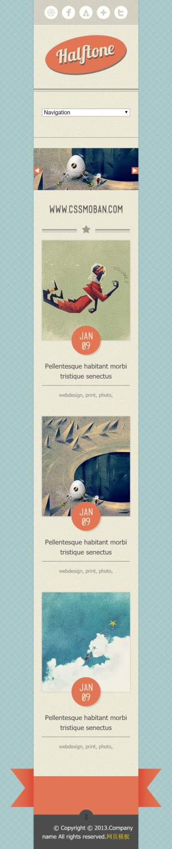复古个性插画设计师作品展示英文网站制作模板手机图片