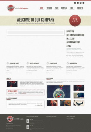 复古宽屏大气设计行业商务整站英文网站制作模板电脑图片