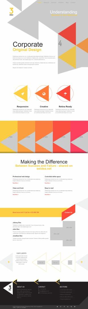 个性三角形设计师案例英文站网站制作模板电脑图片