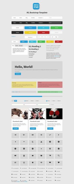 黑白设计整套Bootstrap UI英文网站制作模板电脑图片