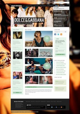 黑绿色大图背景服装企业网站博客英文网站制作模板电脑图片