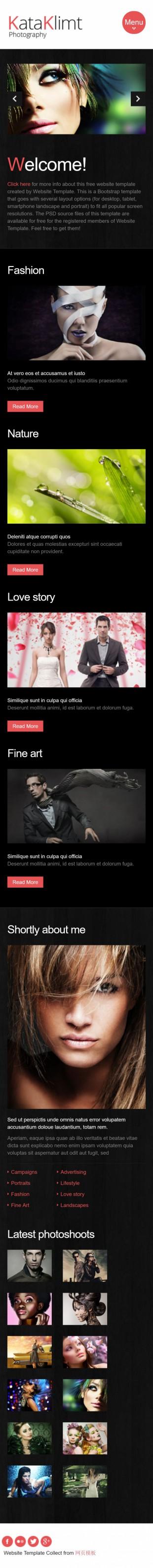 黑色扁平化服装设计企业英文网站制作模板手机图片
