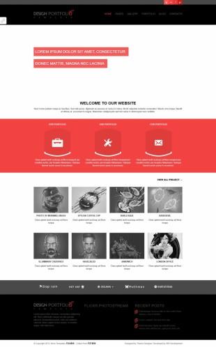 黑色大图扁平化响应式摄影公司整站英文网站制作模板电脑图片