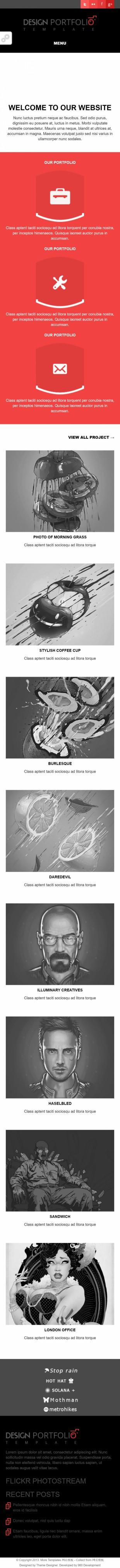 黑色大图扁平化响应式摄影公司整站英文网站制作模板手机图片