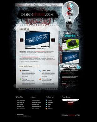 黑色个性创意设计师作品展示英文网站制作模板电脑图片