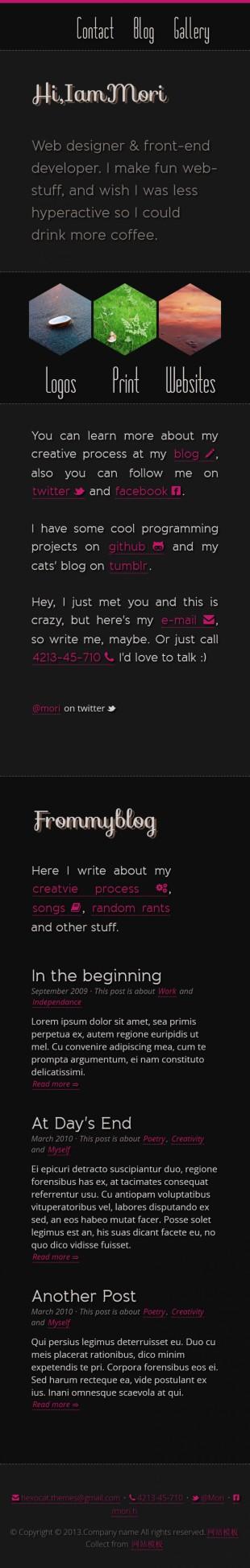 黑色个性的图片个人博客英文模板网站制作手机图片