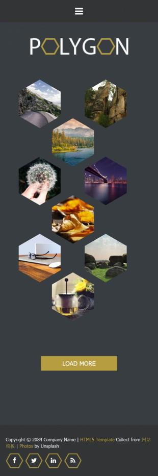 黑色个性蜂窝形状摄影相册英文模板网站制作手机图片