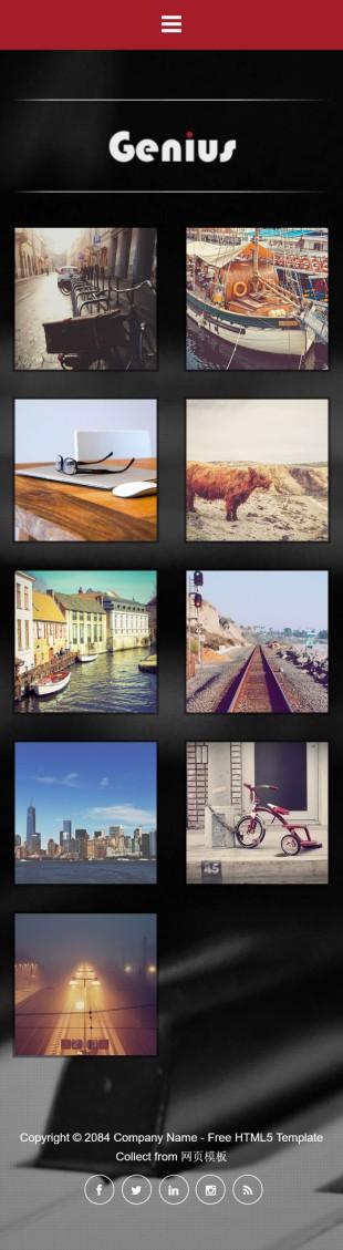 黑色精美个人摄影工作室英文模板网站制作手机图片