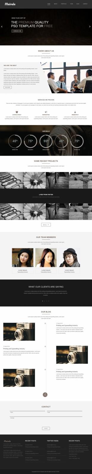 推荐黑色宽屏响应式商业服务公司英文模板网站制作响应式网站电脑图片