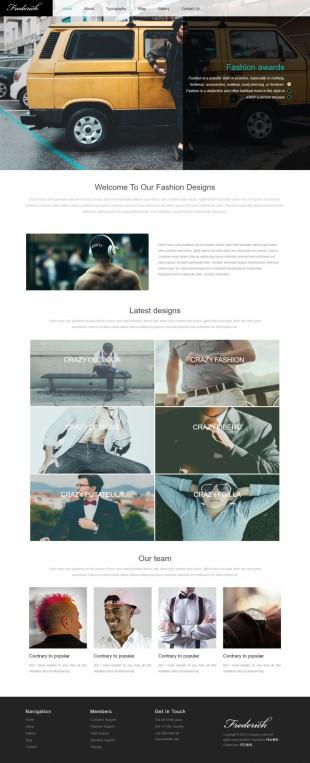 黑色男装休闲服饰企业英文模板网站制作电脑图片