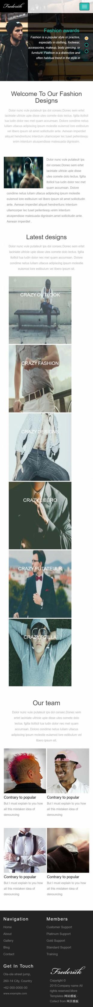 黑色男装休闲服饰企业英文模板网站制作手机图片