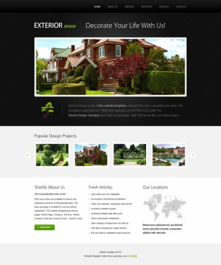 黑色漂亮房地产园林设计公司英文模板网站制作电脑图片
