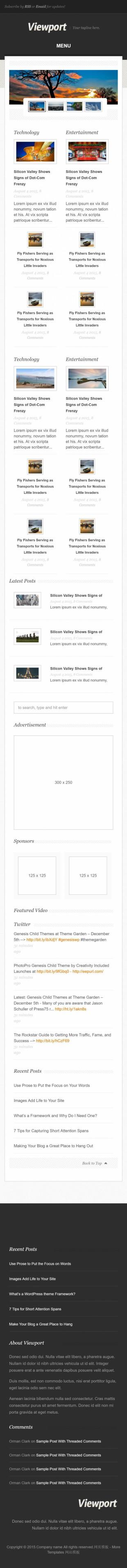 黑色漂亮新闻科技博客英文模板网站建设手机图片