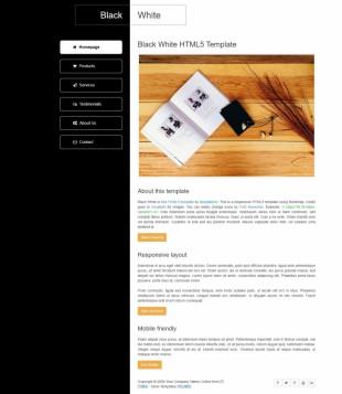 黑色相间个性二栏个人博客英文网站模板电脑图片