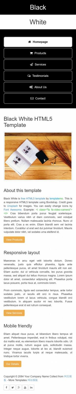 黑色相间个性二栏个人博客英文网站模板手机图片