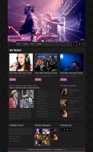 黑色质感音乐演出活动官网英文网站模板制作电脑图片