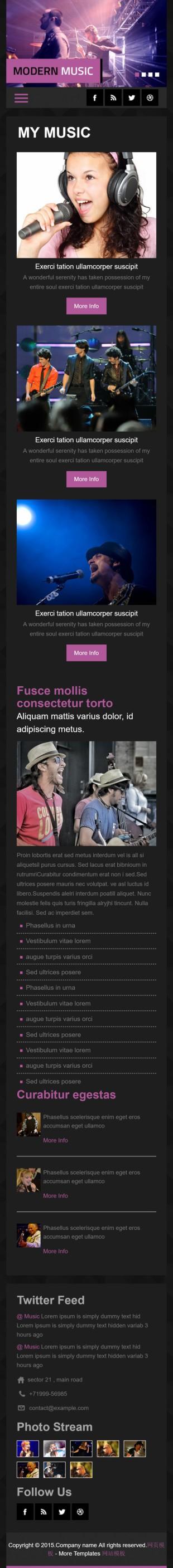 黑色质感音乐演出活动官网英文网站模板制作手机图片