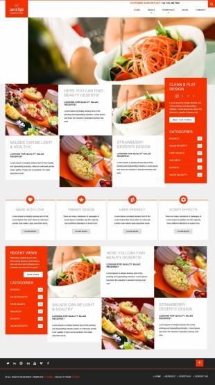 扁平风格设计美食主题英文网站模板制作电脑图片