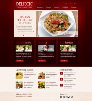 红色花纹大气精美饭店整站英文网站制作模板电脑图片