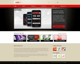 红色质感手机外贸行业企业网站首页英文网站制作模板电脑图片