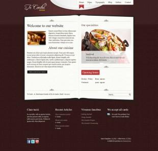 花纹背景美食西餐厅点餐台企业英文网站制作模板电脑图片
