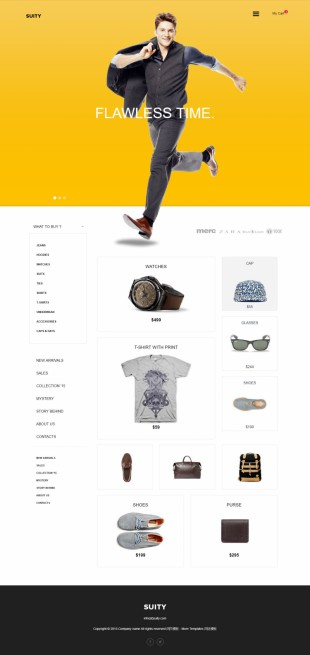 男士奢侈品购物英文网站模板制作电脑图片