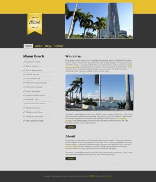 黄色个性的城市酒店英文网站模板制作电脑图片
