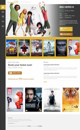 黄色精品大气电影预告片英文网站模板制作电脑图片